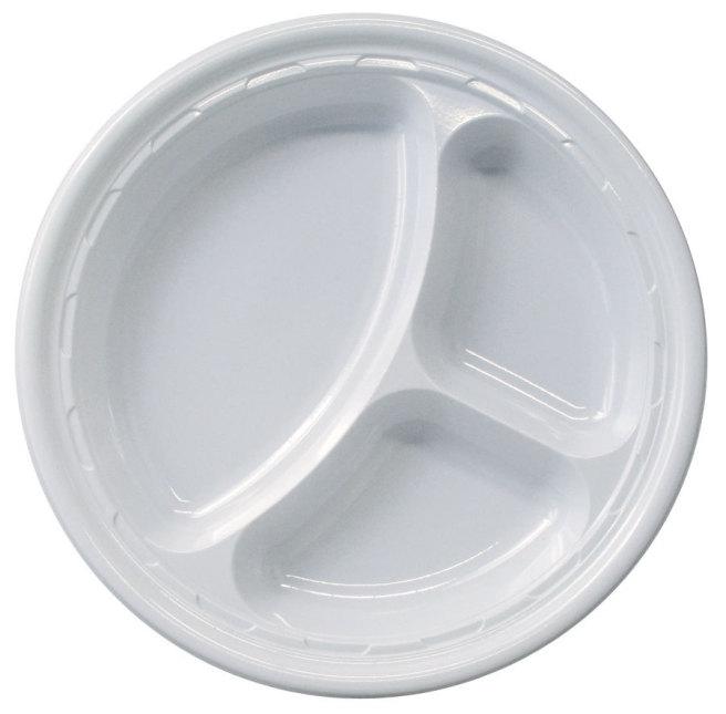 Plastic Plates 3 Compartments